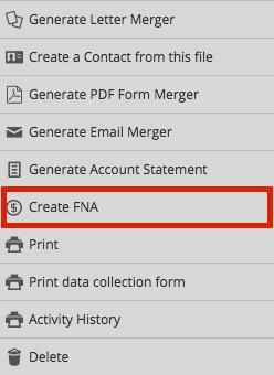 Creating an FNA - Kronos FNA Documentation